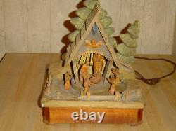 RARE Vintage Anri Italy Hand-Carved Wood Lighted Moving Nativity Scene Music Box