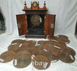 Rare Cabinet Polyphon Disc Music Box By The Brittainia, St Croix Switzerland