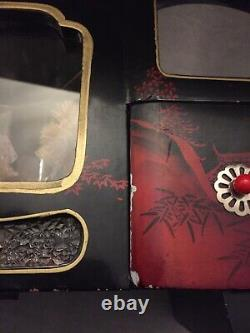 Rare Vintage Light Up Musical Ballerina Japanese Jewellery Box Black Red Lacquer