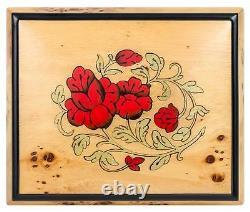 Red Wild Roses Pioppo Italian Inlaid Wood Jewelry Music Box Plays Chopin