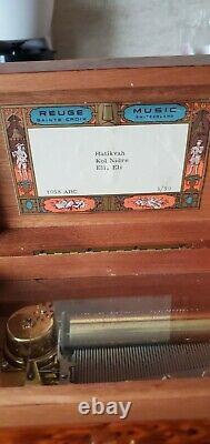 Reuge Music Box, 3 Tune 50 Note, In Beautiful Burl Wood Case L00k