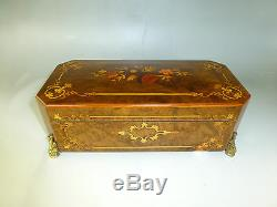 Reuge Music Box 72 / 3 Custom Model Wooden Inlaid Solid Brass Feet = SEE VIDEO