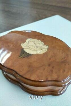 Reuge Music Box Wooden Rose Inlay Elton John Candle In The Wind Rare