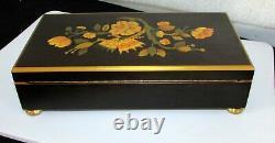 Reuge Sainte Croix Carillon Music Box 12 Tune 60 Note Italian Inlaid Wood Case