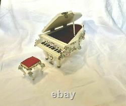 Reuge Spielwaren Dollhouse Rococo Szalasi Grand Piano WithBench Music Box VIDEO
