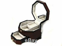 Rosewood Octagon Musical Jewelry Box with Mirror! 3 Compartment box