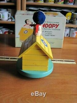 SNOOPY / PEANUTS LOT Of 2 WOOD MUSIC BOXES SCHMID VINTAGE