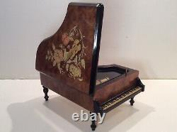 San Francisco Music Box Company Grand Piano Floral on Wood Musical Jewelry Box