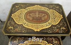 Set of 3 Vintage Nesting Coffee Side Tables Cherubs Marquetry Music Box Italy