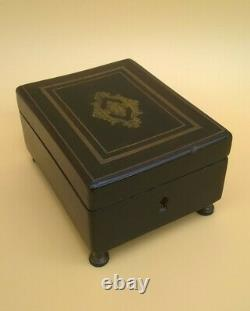 Small Music Box, End 19th Brand Reuge Wood & Brass French Antique