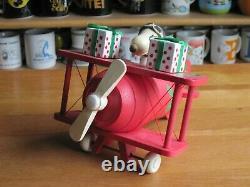 Snoopy / Peanuts Schmid Music Box Santa's Helper Plane Vintage 1984 Wood