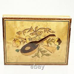 Sorrento Italian Inlaid Wood Jewelry Music Box Funiculi Funicula Wooden with Key