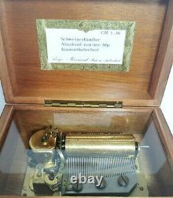 Stunning Vintage REUGE Inlaid Music Box 3 Songs (Schweizerlandler) 36 Notes