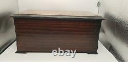 Swiss 8 Air Cylinder Walnut Music Box With Butterflies and Bells in Sight