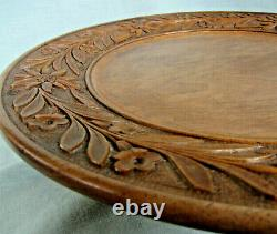 Swiss Black Forest Platter Carved Wood Edleweiss A/F Music box Large 33cm
