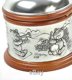 Teddy Bears Picnic Pewter and Wood Music Box by Royal Selangor