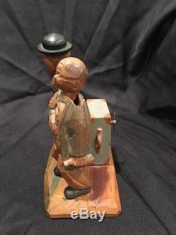 VINTAGE ANRI CARVED WOOD BAR SET With MUSIC BOX CORKSCREW AND BOTTLE OPENER