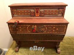 VTG REIG Made in Spain Roller Organ w Crank Wood Music Box No. 728