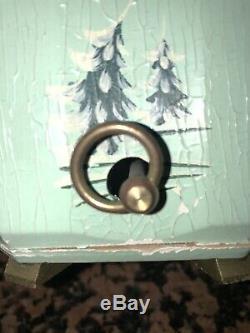 VTG Thorens Music Box NATIVITY Carved Wood Stille Nacht, ROSENHEIM GERMANY1950s