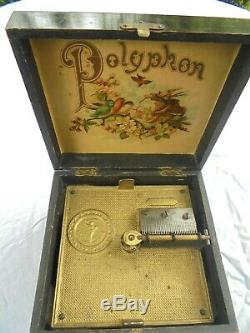 Victorian Antique Polyphon Fruit wood Music Box with 19 x 7 Discs 1900-1909