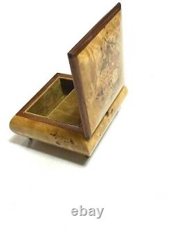 Vintage 60s Reuge Music Box Jewelry Wood Grain Italy Impossible Dream Jack Jones