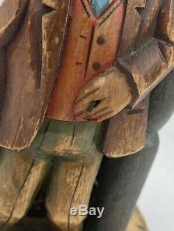Vintage Anri Wood Carving Bar Set Music Box Bottle Opener Corkscrew Carved Wood