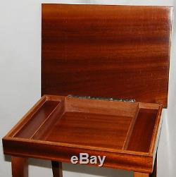 Vintage Floral Jewelry Music Box Italian Marquetry Inlaid Wood Accent Table
