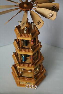 Vintage Four Tier Musical Nativity Pyramid Carousel Windmill 23.2