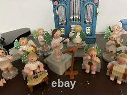 Vintage German Erzgebirge Wendt & Kuhn Angel Band With Organ Music Box -set/ 18