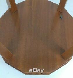 Vintage Handmade Italian 12-Sided Polygon Wood Music Box Table w Key