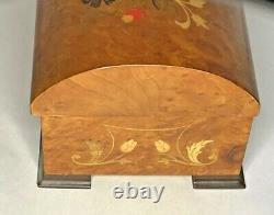 Vintage Inlaid Wood Italian Reuge Domed-Top Swiss Music Box plays Always
