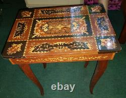 Vintage Intricate Italian Inlaid Marquetry Table With Music Box, Lock And Key