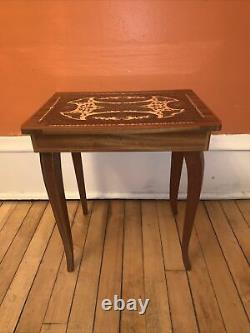 Vintage Italian Inlaid Marquetry Wood table/ Swiss made music box