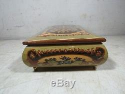Vintage Italian Inlaid Wood Speak Softly Love Jewelry Music Box Italy