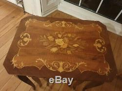 Vintage Italian Marquetry Nesting Tables withMusic Box, Inlaid Wood Made in Italy