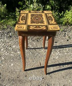 Vintage Italian Sorrento Musical Table with Wood Inlay