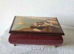 Vintage Italian Wood Inlay Music Box Torna A Surriento Landscape Authenticated