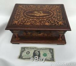 Vintage Italian Wooden Wood Jewelry Box / Music Box w Inlayed wood Santa Lucia