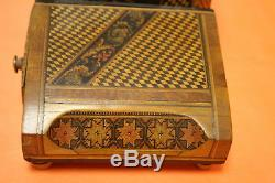 Vintage Italy Inlay Wood Musical Cigarette & Match Box