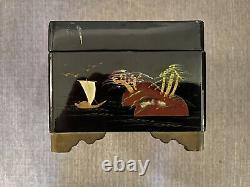 Vintage Japanese Lacquer Musical Jewellery Box With Mother of Pearl inlays