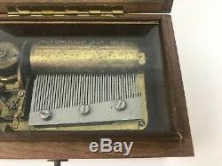 Vintage Music Box Made in Switzerland Burl Wood Box Blue Danube & Ol' Man River