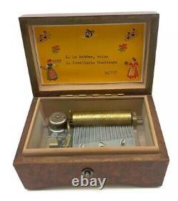 Vintage Music Box Made in Switzerland Burl Wood Box La Boheme Waltz Cavalleria