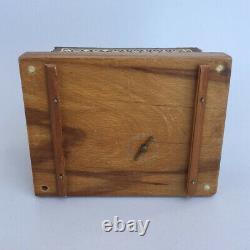 Vintage Musical Box Cigarette Holder Rare Moroccan Wood Inlaid Case Unique Decor