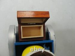 Vintage REUGE Swiss Musical Movement Wind Up Wood Car Music Box WORKS GOOD