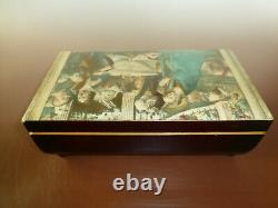Vintage Reuge Music Box 72 / 3 Plays Ave Maria With Nativity Scene Wooden Case