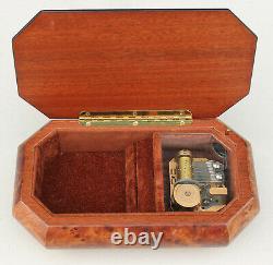 Vintage Reuge Romance Music Box Inlaid Burl Wood Violin 18 Note Jewelry Trinket