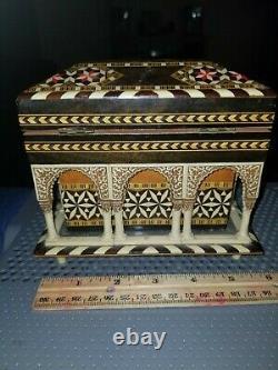 Vintage Reuge Swiss Movement Music Box 3d Inlayed Wood Francisco Alegre Rare Vht