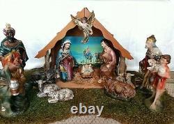 Vintage SEARS Nativity set w Music box lighted Wood Manger Japan 15 Pc Christmas