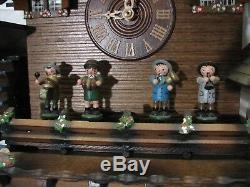 Vintage Schneider Black Forest Wood German Cuckoo Clock Mill Music Box Animated