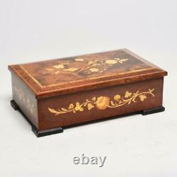 Vintage Sorrento Burl Wood Music Box, Sankyo Bee's Bell, Blue Danube, 12w